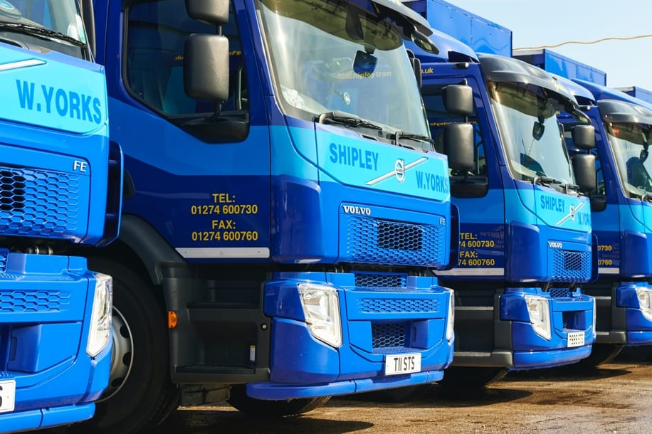 Modern fleet of HGV haulage vehicles in Yorkshire
